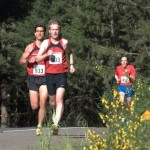 Daniel Bartosz and Torrey Lindbo set the pace at Race #1, the Hagg Lake 10.5 miler.
