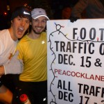 Jacob Buckmaster and Morgan (Foot Traffic manager) at the entrance to Peacock Lane