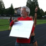 Rick giving an overview of the track workout at Duniway. Photo by Janelle Henderson