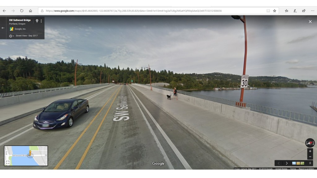 Approximate starting point - the 30 mph sign on the Sellwood Bridge