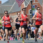 Adam, Torrey and Chris at mile 10 (in Natick) during the 2016 Boston Marathon